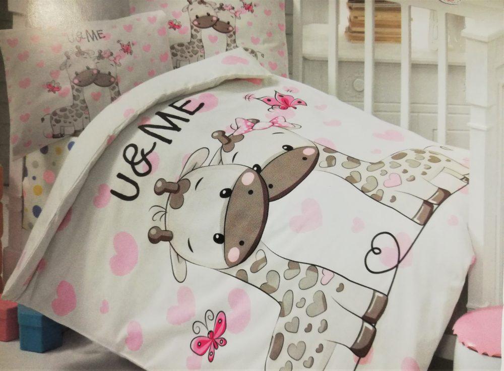 008Set Complet Lenjerie Patut Bebe-imprimeu cu Girafe
