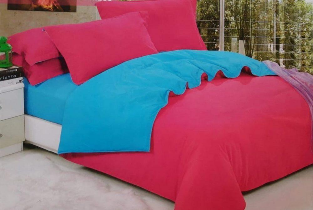 Lenjerie de pat , bumbac 100% - BI-41 - Fucsia+ Blue
